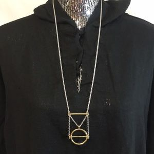 Lucky brand 2 tone circle square triangle necklace